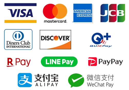 VISA/Mastercard/American Express/JCB/Diners Club/Discover/QUICPay/楽天ペイ/LINE Pay/PayPay/Alipay/WeChat Pay
