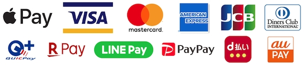 Apple Pay, アップルペイ, VISA, Master Card, JCB, American Express, Diners Club, QuicPay, Rakuten Pay, 楽天ペイ, LINE Pay, PayPay, d払い, au Pay